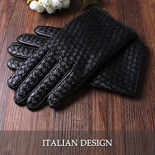Nappaglo Men's Genuine Nappa Leather Gloves Touchscreen Hand-knitted Winter Warm Driving Cycling Mittens (XXL (Palm Girth:9.5''-10''), Black (Touchscreen)) by Nappaglo (Image #3)