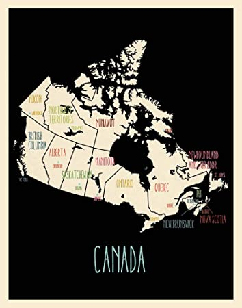 Canada Map Poster Amazon.: Canada Map Wall Art Poster (14