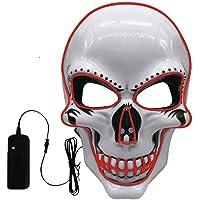 Máscara LED Halloween,LED Máscaras Carnaval con 3 Modos de Iluminación,Luminosa Craneo Esqueleto Mascaras, para Navidad…