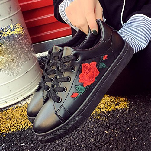 Shoes Casual Xjp Shoes Trainers Embroidery Flat Women's Black vqFXq