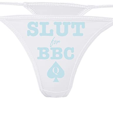 37753602d407 Knaughty Knickers - Slut for BBC - Queen of Spades White Thong Panties - Love  Big Black Cock Underwear at Amazon Women's Clothing store: