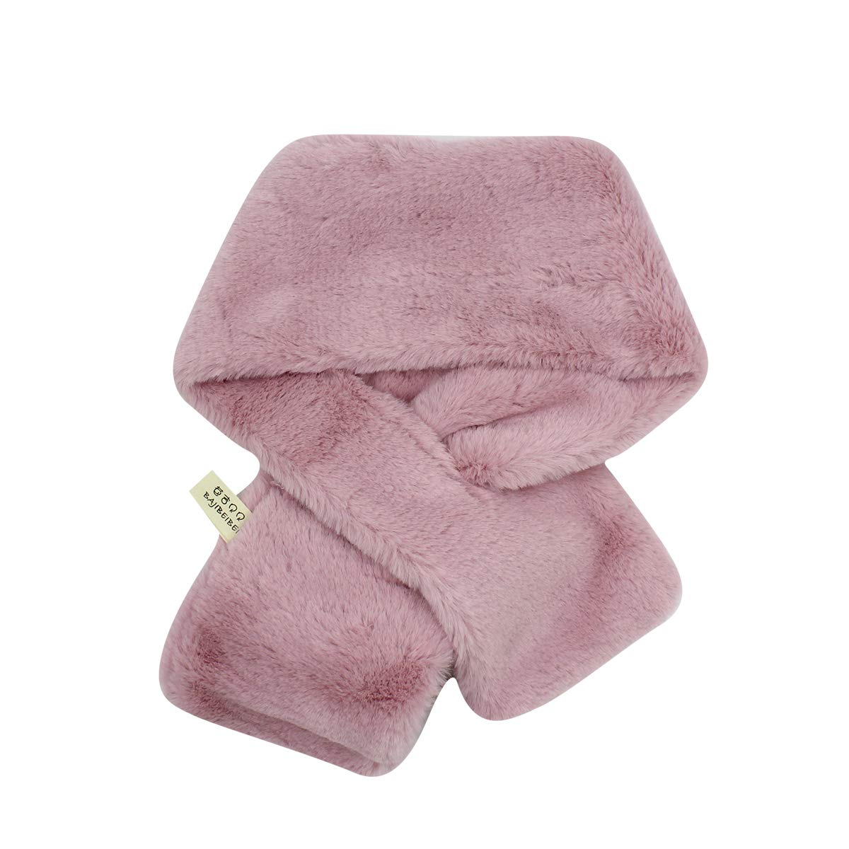 Plush Scarf Fashion Solid Color Warm Scarves Thick Shawl Warp with Cute Rabbit for Kids Toddler Girls