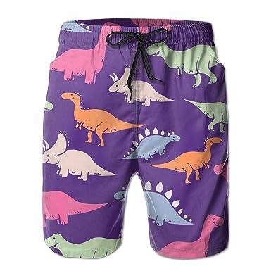 dfea73fe0c4dd CHI-M Men's Quick-Dry Swimwear Colored Dinosaur Pattern Swim Trunks ...