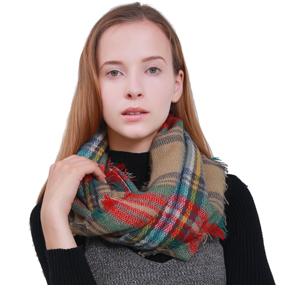 MissShorthair Women's Light Weight Colorful Painting Plaid Tartan Infinity Scarf BCI14106-11P
