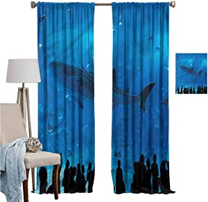 DRAGON VINES Blackout Curtains for Living Room-Curtains for Living Room Shark W96 x L72,Aquarium Park and People Noise ReductionSet of 2 Panels
