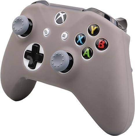 Pandaren® cubierta de silicona Fundas protectores antideslizante Solamente para Xbox One S, Xbox One X Mando x 1 (gris) + Thumb grips x 2: Amazon.es: Videojuegos