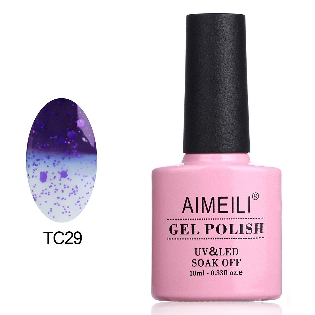 AIMEILI Soak Off UV LED Temperature Color Changing Chameleon Gel Nail Polish - Glitter Purple to Transparent (TC29) 10ml