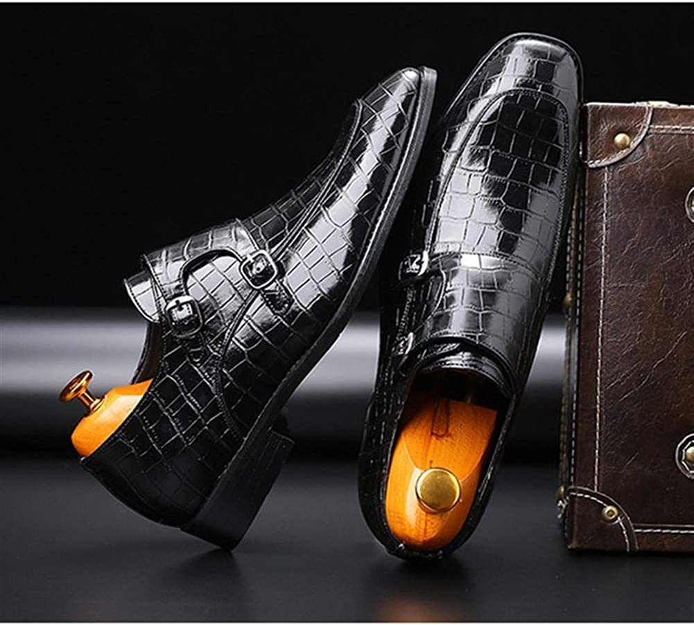 CQIANG Oxford Business Sewn Loafers Men of Embossed Leather Pointed Polished Chain Style Beautiful You Color : Black, Size : 8.5 M US