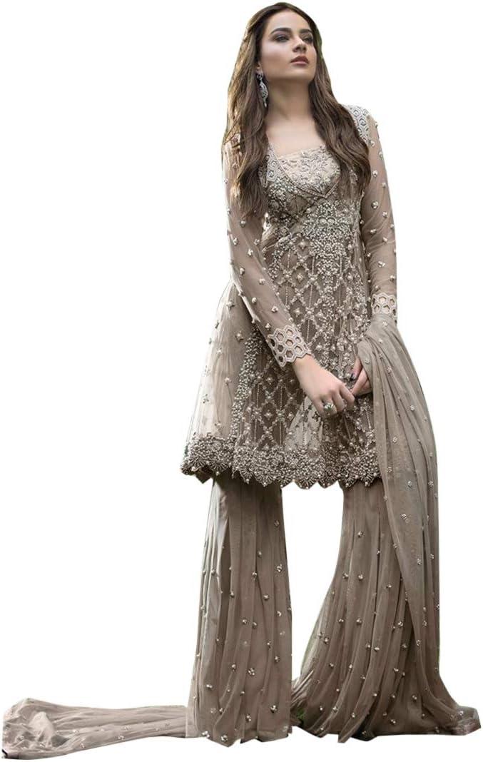 Amazon Com Heavy Embellished Pakistani Salwar Kameez Designer Eid Festival Suit Dress Garar Kurti Muslim 8172 Dusty Home Improvement