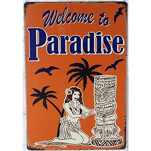 Welcome to Paradise Hawaii Tiki Themed Bar Decorative Metal Sign 20 x 30 cm