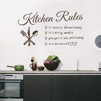 decalmile Scritte e Frasi Adesivi Murali Marrone Kitchen Rules Removibile  Adesivi da Parete Decorazioni per Cucina Sala da Pranzo
