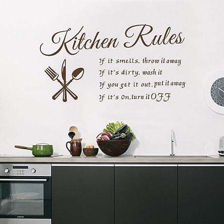 Adesivi Murali X Cucina.Decalmile Scritte E Frasi Adesivi Murali Marrone Kitchen Rules
