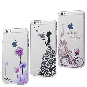 3x Funda iPhone 6S Plus, 6 Plus Carcasa Silicona Gel Case Ultra Delgado TPU Goma Flexible Cover para iPhone 6 Plus / 6S Plus - Chica + Bici + Diente ...