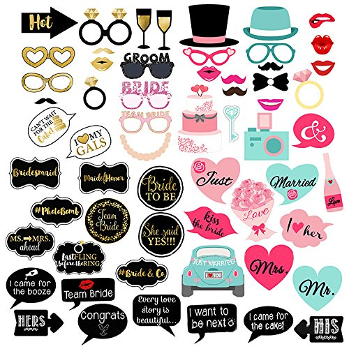 Losuya Wedding Photo Booth Props for Wedding Party Bridal Shower Decoration Supplies, 60 Piece