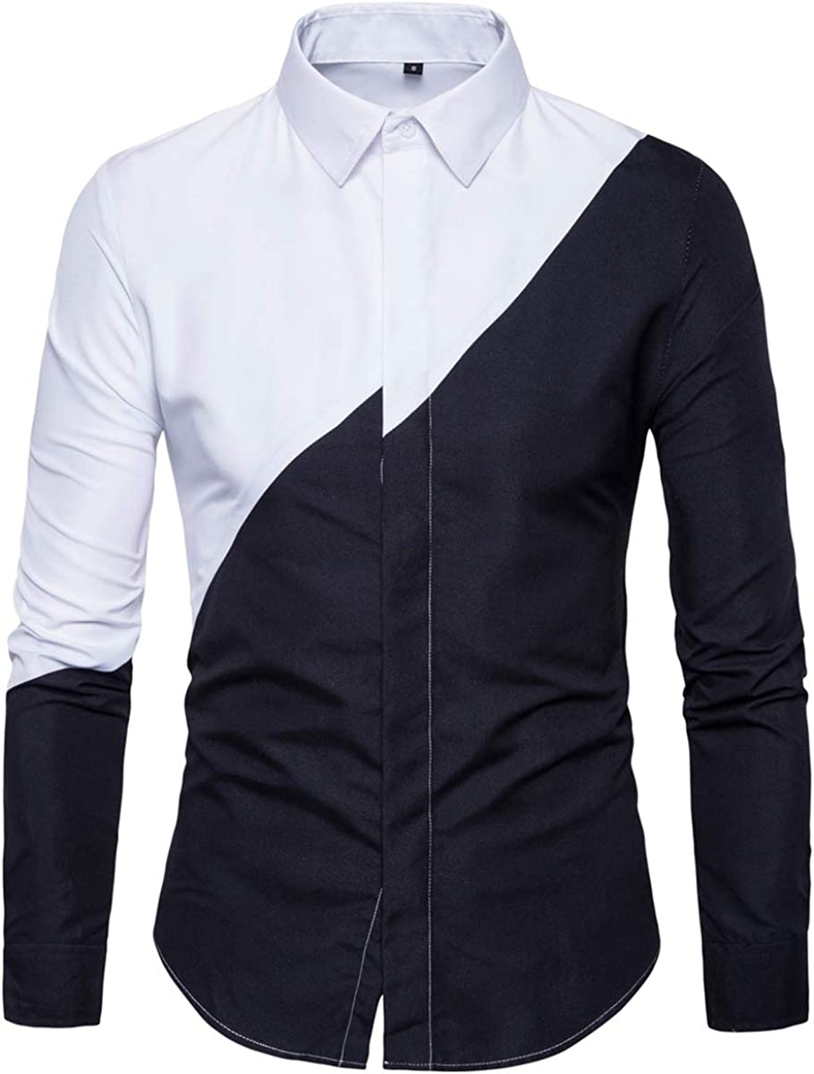 Mens Shirt Black White Stitching Long Sleeve Button Casual Classic Fit Cotton Dress Shirt