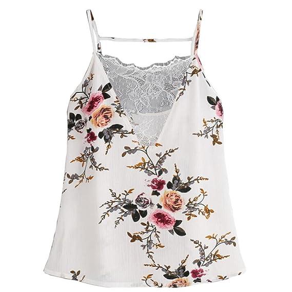 Vovotrade Chaleco estampado de flores de encaje sin mangas Top sin mangas blusa sin mangas Tops