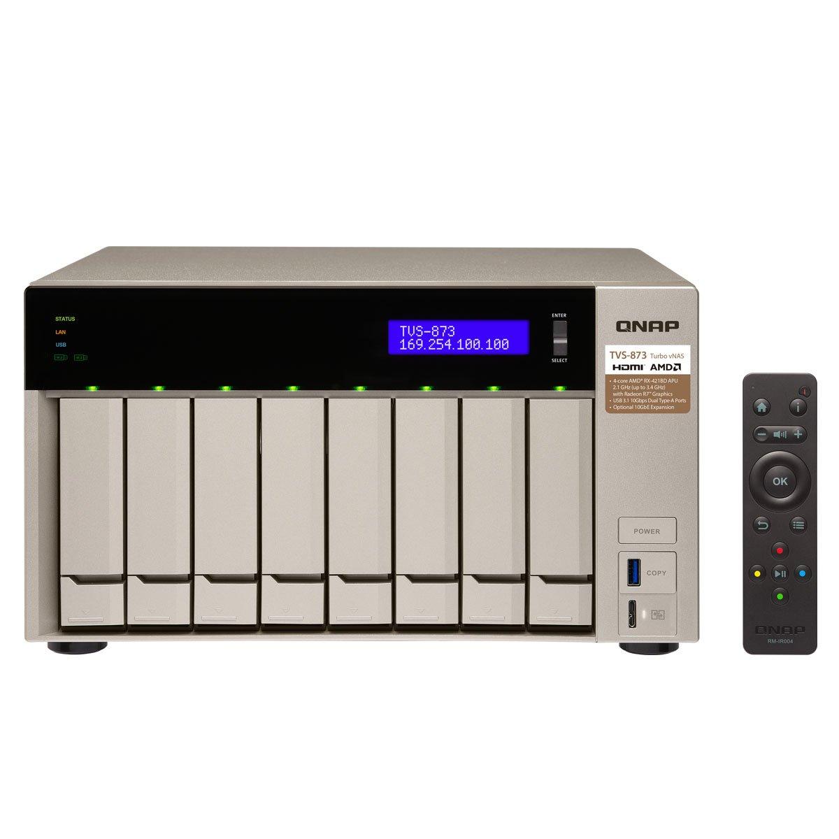 QNAP TVS-873 NAS Torre Ethernet Oro - Unidad Raid (Unidad de Disco Duro, SSD, M.2, Serial ATA III, 2.5/3.5