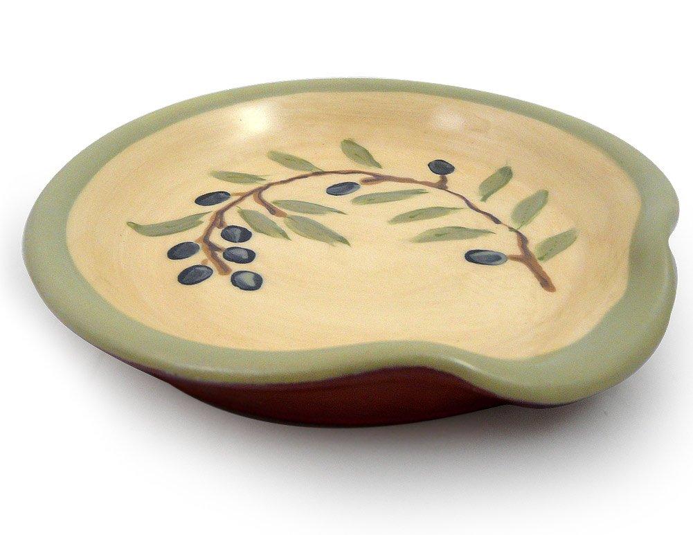 American Made Terracotta Pottery Spoon Rest, Mediterranean Olive Branch Motif Modern Artisans HD0594