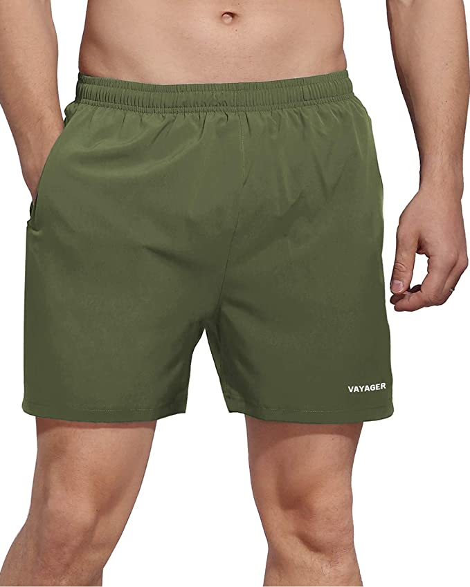 VAYAGER Mens 5 Inch Running Shorts Quick Dry Workout Athletic Performance Shorts with Liner and Zipper Pocket