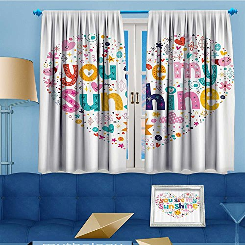 Star Collection Lab Shine (alsohome Alta Pine Forest Design Collection,Heart Shaped Sunshine Motivatial Quote with Stars Circle Sun Cloud Infant,Living Kids Girls Room Curtain, 63