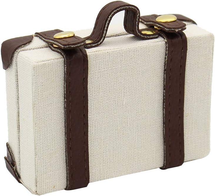 Mini exquisita de equipaje Caja 6 Puntos maletín de transporte Maleta creativas miniatura Cajas maleta para la casa del juguete en miniatura para la casa Beige