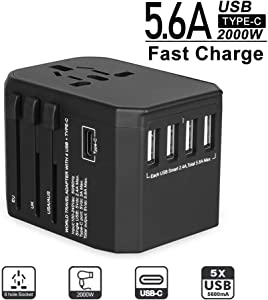 Universal Travel Adapter - Evershop All in One Worldwide Wall Power Charger AC Plug Converters Adapters with 5.6 A 4 USB and 3.0A USB Type-C Ports for 224+ Countries(Black)