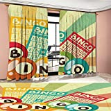 LedfordDecor Vintage Window Curtain Fabric Bingo Game with Ball and Cards Pop Art Stylized Lottery Hobby Celebration Theme Drapes For Living Room Multicolor