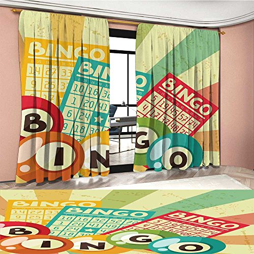 LedfordDecor Vintage Window Curtain Fabric Bingo Game with Ball and Cards Pop Art Stylized Lottery Hobby Celebration Theme Drapes For Living Room Multicolor by LedfordDecor