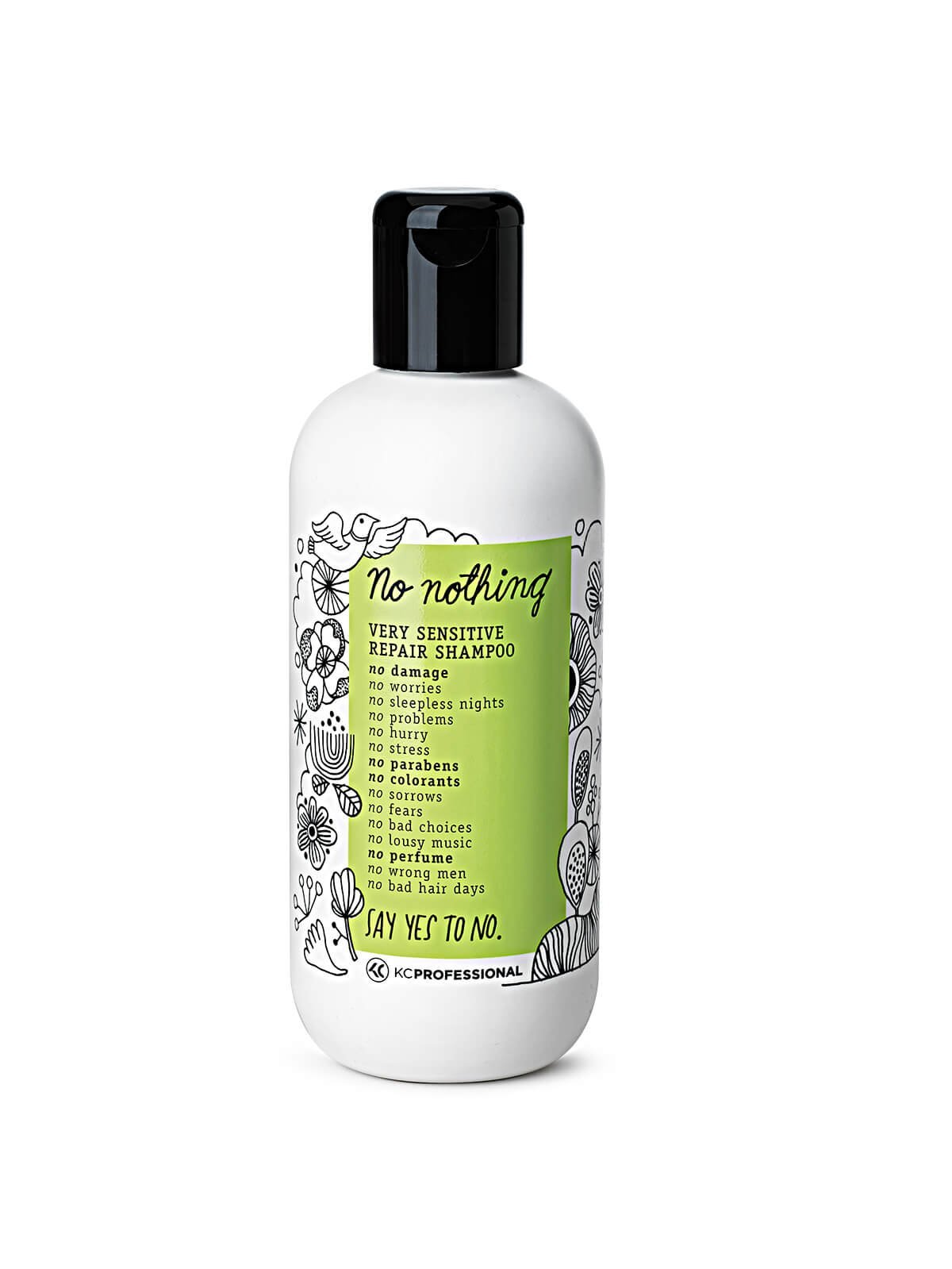 No Nothing Very Sensitive Repair Shampoo - 100% Vegan, Hypoallergenic, Fragrance Free, Paraben Free – 10.15 oz