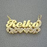 14K Yellow Gold 3D Double Plates Name Pendant Charm Personalized Jewelry