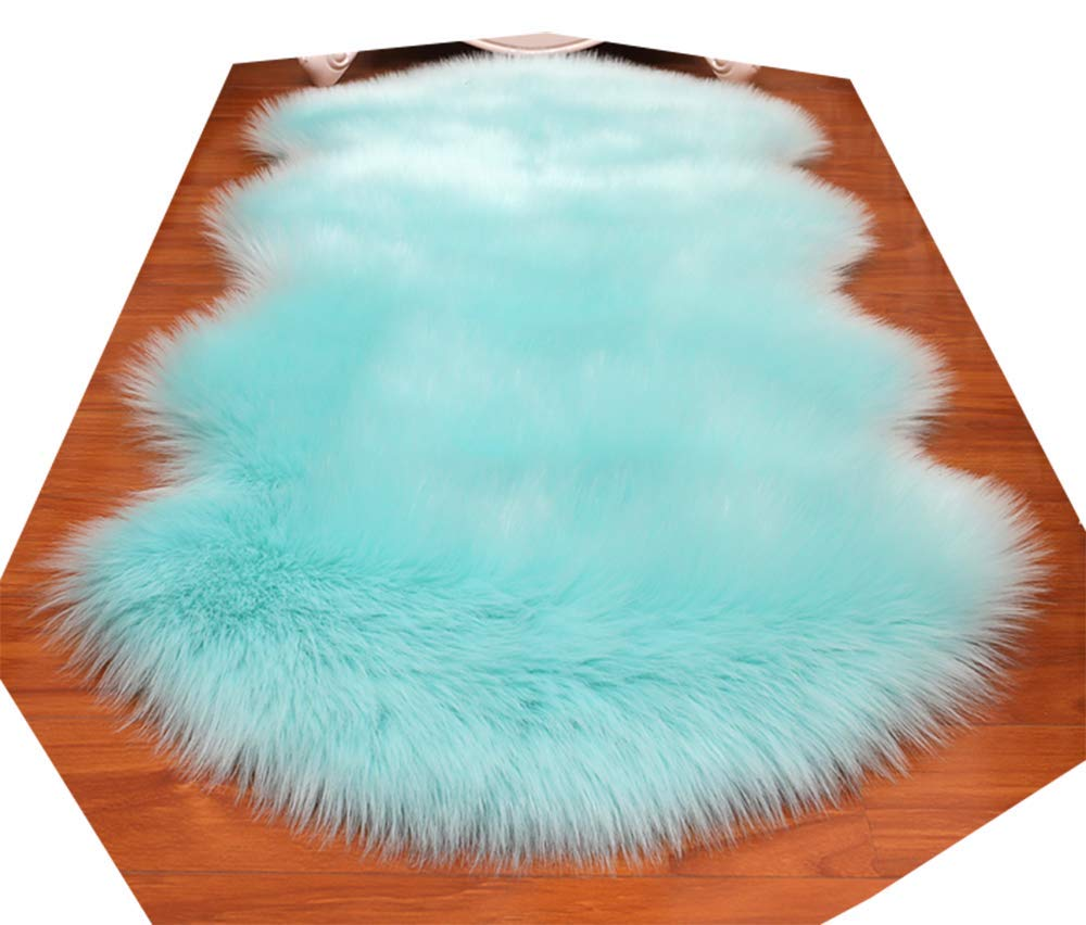 HUAHOO Faux Fur Sheepskin Rug Tiffany Blue Kids Carpet Soft Faux Sheepskin Chair Cover Home Décor Accent for a Kid's Room,Childrens Bedroom, Nursery, Living Room or Bath. 2' x 6'