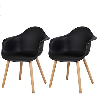 Design AccoudoirsNoir Sdc0013 2 Chaise Salon Esituro Avec Lot En Plastique De Fauteuil 76ybfg