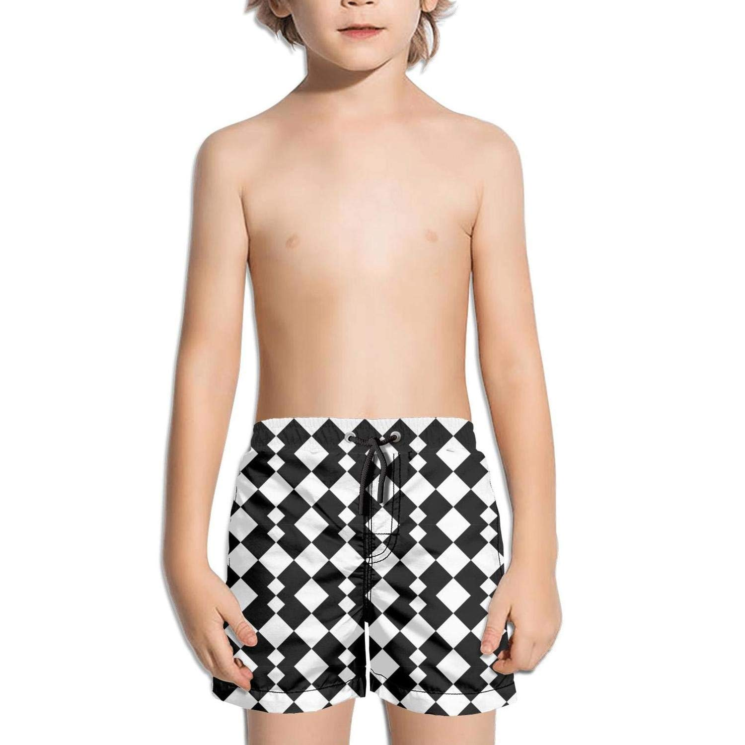 uejnnbc Black and White Vector Abstract Geometric Shapes Waterproof Solid Solid Board Swimming Trunks Shorts