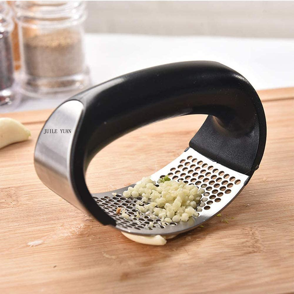 Professional Food Prep Grade Garlic Press Rocker - Stainless Steel Garlic Mincer Crusher and Peeler Gadget with Ergonomic handle (black)