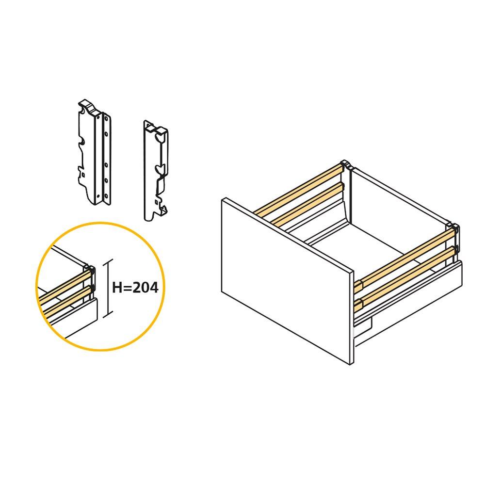 Emuca 3018112 kit syst/ème tiroir H83 avec fermeture amortie en acier L  350mm peint blanc
