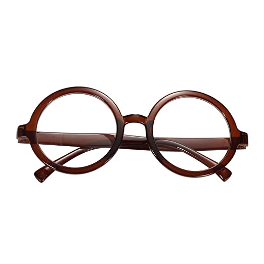 2c2d3706d8 Amazon.com  Beison Vintage Round Glasses Frame Inspired Eyeglasses Circle  Clear Lens (Brown