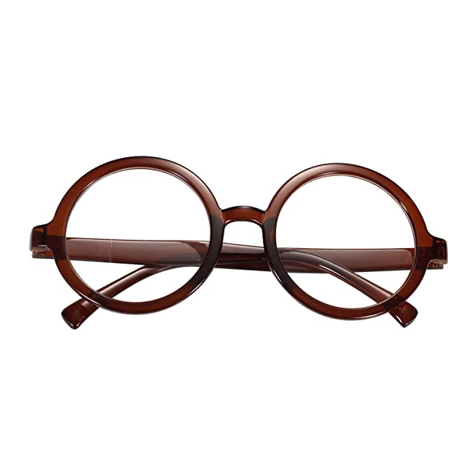 8bb3a423c46 Beison Vintage Round Glasses Frame Inspired Eyeglasses Circle Clear Lens  (Brown