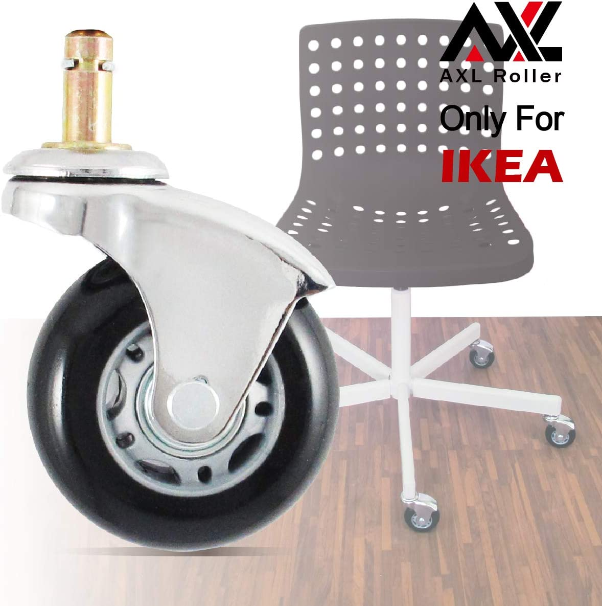 AXL 2.5 inch Office Chair Caster Wheel Replacement for Roller blade Wheels Heavy Duty Casters for Hardwood Floors Safe (IKEA 10mm) (2.5 inch Chrome, Grey/Black)
