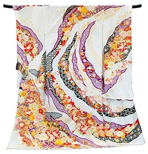 深さ凍結つかの間【お仕立て付き】古典柄 正絹 振袖 f-165-t 白 ホワイト 刺繍 新品 未仕立て品 成人式