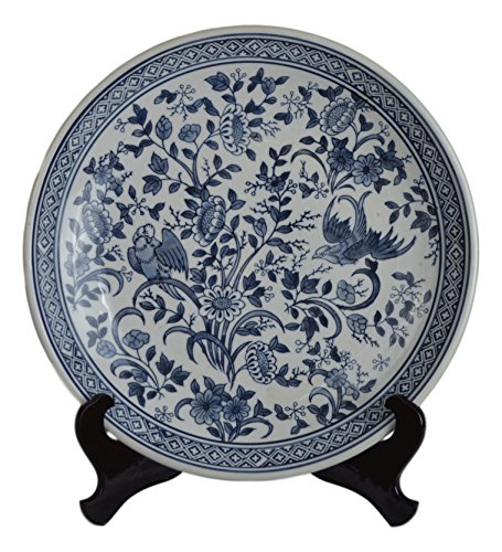 "14"" Porcelain Plate, Birds and Flowers, Blue and White Decorative Plate"