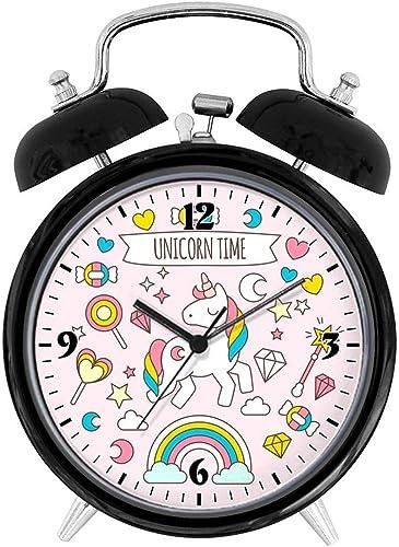 BCWAYGOD Unicorn Time Desk Clock Home Unique Decorative Alarm Ring Clock 3.8in