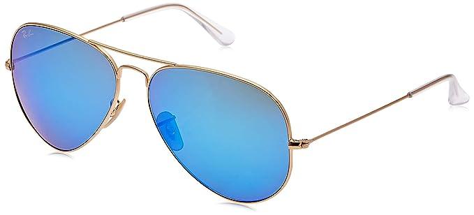 Ray-Ban Aviator Large Metal, Gafas de sol para Hombre, Dorado (Blue Flash), 62