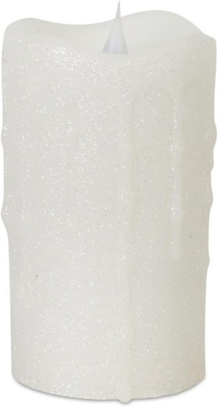 Melrose 5.25 White Glittering Flameless LED Lighted Christmas Pillar Candle with Moving Flame