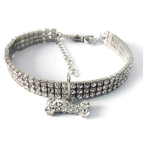 oobest Collares para Mascotas con 3 Filas de Diamantes de imitación elásticos, Collares para Mascotas
