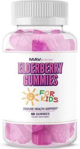 MAV Nutrition Elderberry Gummies Immune System Booster for Kids Vitamins with Vitamin C Zinc Supplement Echinacea, Vegetarian Friendly, 60 Count