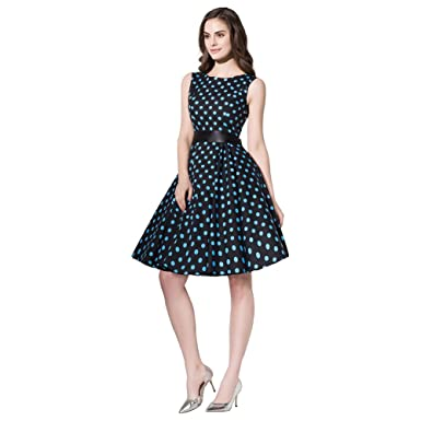 f5ec8c97e4a FiftiesChic 100% Cotton Sleeveless Polka Dot Floral 50s Vintage Rockabilly  Swing Dress (Small