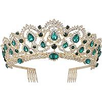 Frcolor Corona de Reina, Corona de Cristal Rhinestone de Venda de Vendimia, Tiaras de Boda para Muchacha y Mujer (verde)