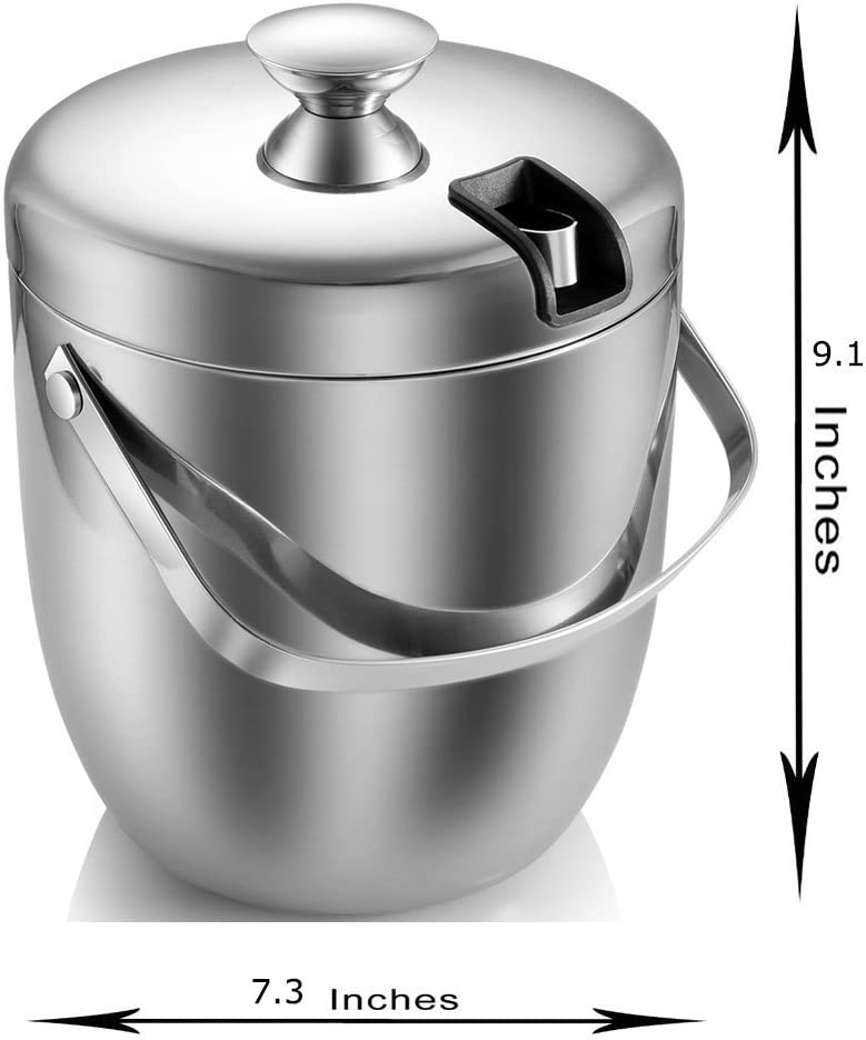Ice Bucket,Insulated Stainless Steel Double Walled Ice Bucket with Lid,Stainless Steel Ice Tongs -2.8L-Silver