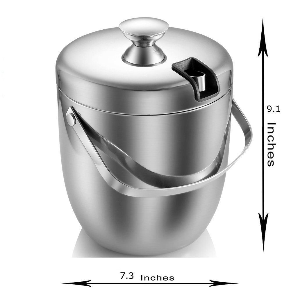 Fortune Candy Double Walled Ice Bucket,Beer Bucket for Parties,Stainless Steel Ice Tongs with Lid 2.8L/2.7 Quart (Silver) by Fortune Candy (Image #4)