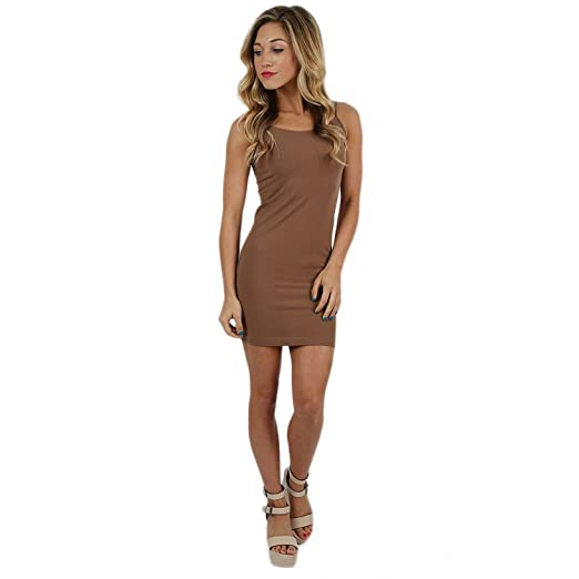 8256d56def7 Praise Start Women Solid Color Seamless Cami Slip Dress with Spaghetti  Straps (Cream Chocolate) at Amazon Women s Clothing store